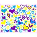 Hearts & Swirls - Purple/Blue